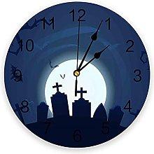 Halloween PVC Wall Clock, Silent Non-Ticking Round