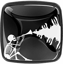 Halloween Skeleton Illustration Glass Door Knobs -