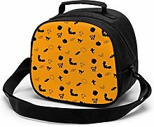 Halloween Yellow Insulated Lunch Bag Mini Cooler