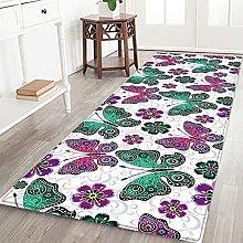 Hallway Rug,Non-Slip Area Carpet Boho Green Purple