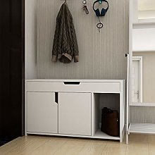 Hallway White Shoe Storage Cabinet Small with 2