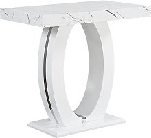 Halo Bar Table In Shiny Marble Finish And High