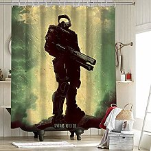 Halo Fabric Shower Curtain with 12 Hooks for