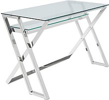Halton Glass Computer Desk In Clear With Silver