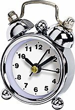 Hama Alarm Clock, Chrome, White, MINI