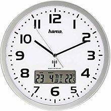 Hama Extra Circle Silver, White – Wall Clock (AA