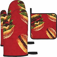 Hamburger Funny Red Oven Mitts Gloves 2 Set,