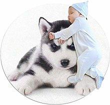 Haminaya Cute Husky Round Area Rug Machine