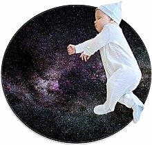 Haminaya Purple Blue Star Nebula Round Area Rug