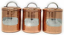 Hammered Copper Metal Kitchen Food Storage Tin