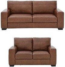 Hampshire 3 Seater + 2 Seater Italian Leather Sofa
