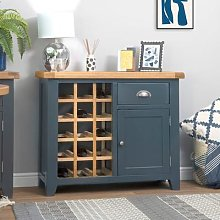 Hampshire Blue Painted Oak Small Sideboard Wine