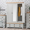 Hampshire Grey Painted Oak 3 Door Wardrobe with