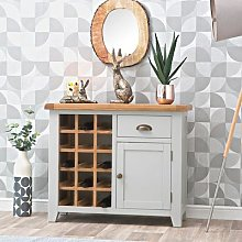 Hampshire Grey Painted Oak Small Sideboard Wine