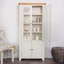 Hampshire Ivory Painted Oak Glass Display Cabinet