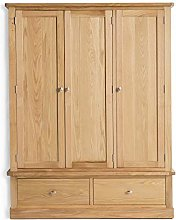 Hampshire Oak Large Triple Wardrobe with Drawers |