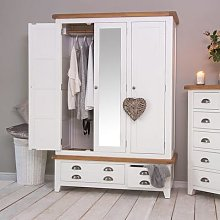 Hampshire White Painted Oak 3 Door Wardrobe with