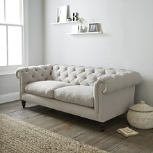 Hampstead 3 Seater Sofa Cotton, Silver Cotton, One