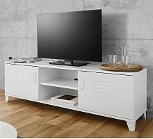 Hampstead Contemporary TV Stand In White With 2