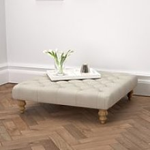 Hampstead Square Linen Union Footstool, Natural