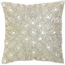 Hand Beaded Decorative Pillow Cover -12x12 Inch