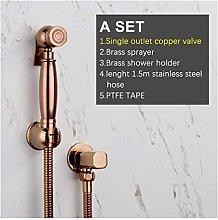 Hand Bidet Sprayer Rose Golden Copper Flusher Kit