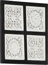 Hand-Carved Wall Panel MDF 40x40x1.5 cm Black and