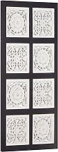 Hand-Carved Wall Panel MDF 40x80x1.5 cm Black and