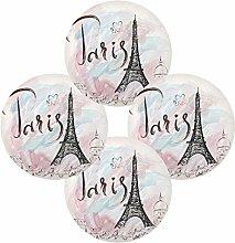 Hand Drawn Paris Eiffel Tower Round Placemats Set