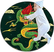 Hand Drawn Traditional Chinese Dragon Green, Round