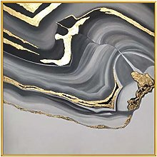 Hand-painted oil painting - Black White Light Gold