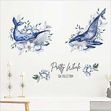 Hand Painted Shark Blue Flowers Modern Living Room