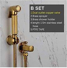 Hand Toilet Sprayer Titanium Golden Copper Faucet