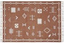 Hand-woven Kilim rug in terracotta and white wool