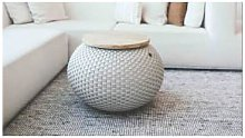 Handed By - Halo Side Table - plastic   beige -