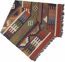 Handicraft Bazarr 2x6' Wool Jute Carpets Throw