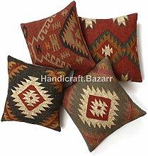Handicraft Bazarr 4 Pcs Wool Jute Cushion Cover