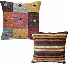Handicraft.bazarr 45x45 cm 2 Set Rustic Kilim Jute