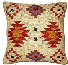 Handicraft Bazarr Kelim Wool Jute Rug Cushion