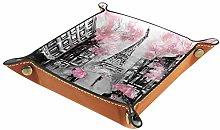 HANDIYA Gray Pink Oil Painting Paris Jewelry Tray,
