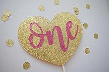 Handmade Glitter Cake Topper, Heart Cake Topper,