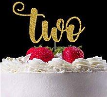 Handmade Glitter Cake Topper, Two Cake Topper,