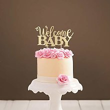 Handmade Glitter Cake Topper, Welcome Baby Cake