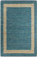 Handmade Rug Jute Blue 160x230 cm - Blue - Vidaxl