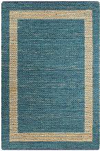 Handmade Rug Jute Blue 80x160 cm
