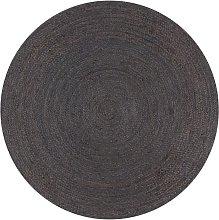 Handmade Rug Jute Round 120 cm Dark Grey - Grey -