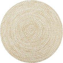 Handmade Rug Jute White and Natural 90 cm - Hommoo