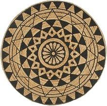 Handmade Rug Jute with Black Print 90 cm - Hommoo