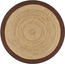Handmade Rug Jute with Brown Border 120 cm - Hommoo