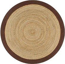 Handmade Rug Jute with Brown Border 150 cm VD02603